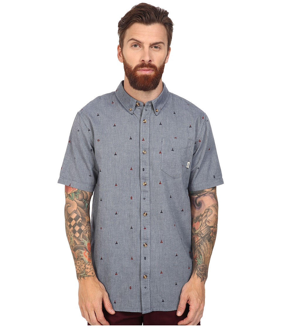 Vans - Houser S/S Wovens (Dress Blues True Native Ditsy) Men's Long Sleeve Button Up