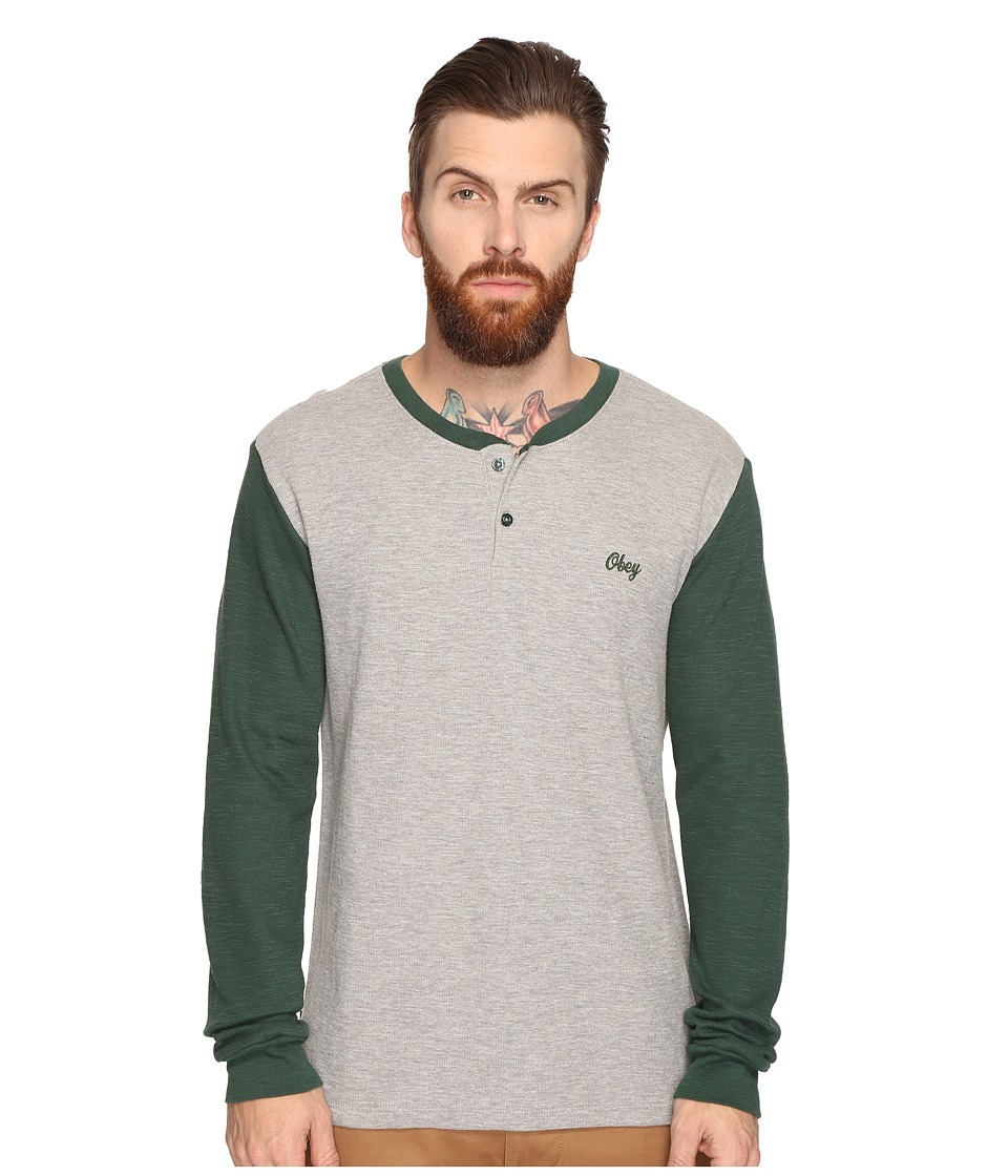 Obey - Note Long Sleeve Henley (Heather Grey Multi) Men's Clothing