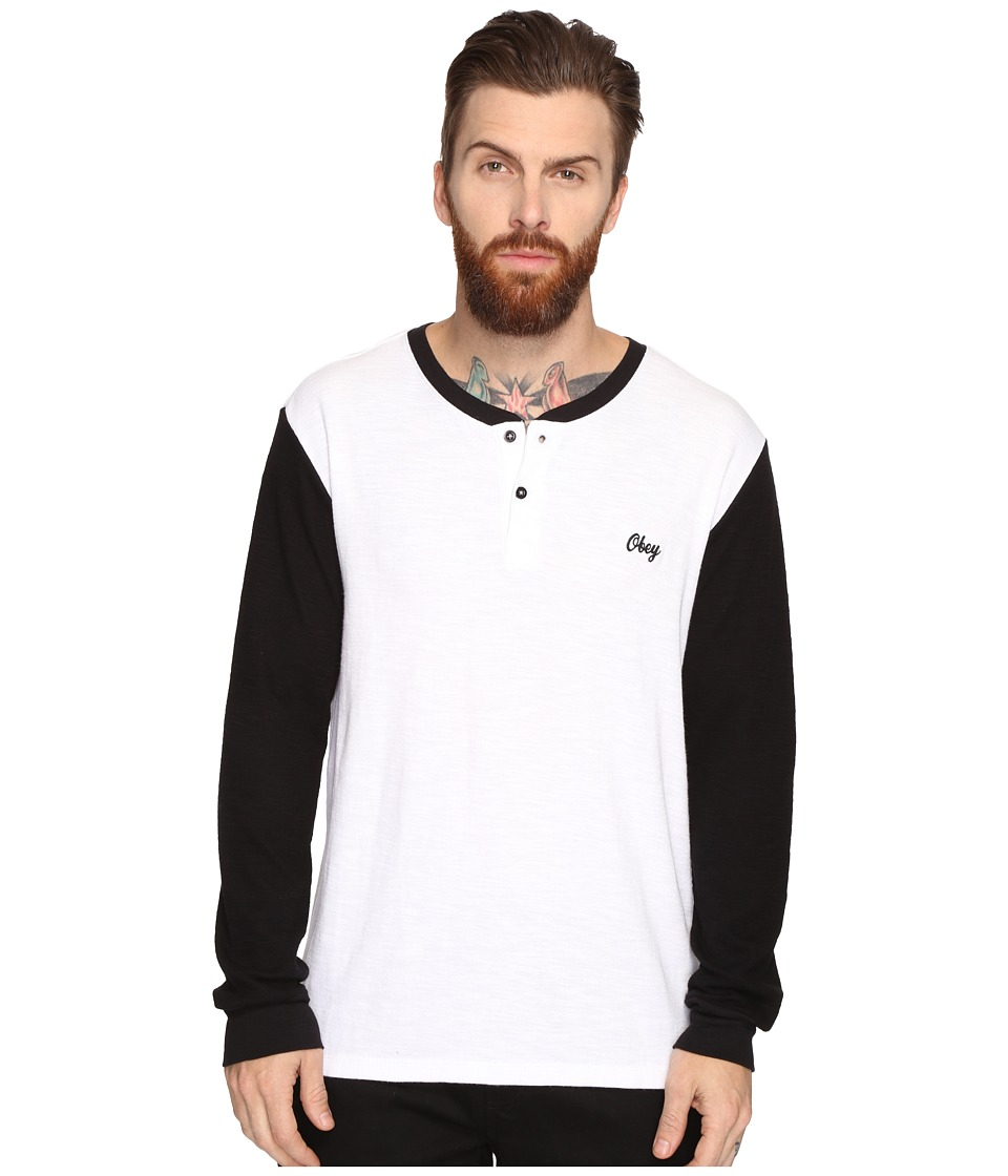 Obey - Note Long Sleeve Henley (White Multi) Men's Clothing