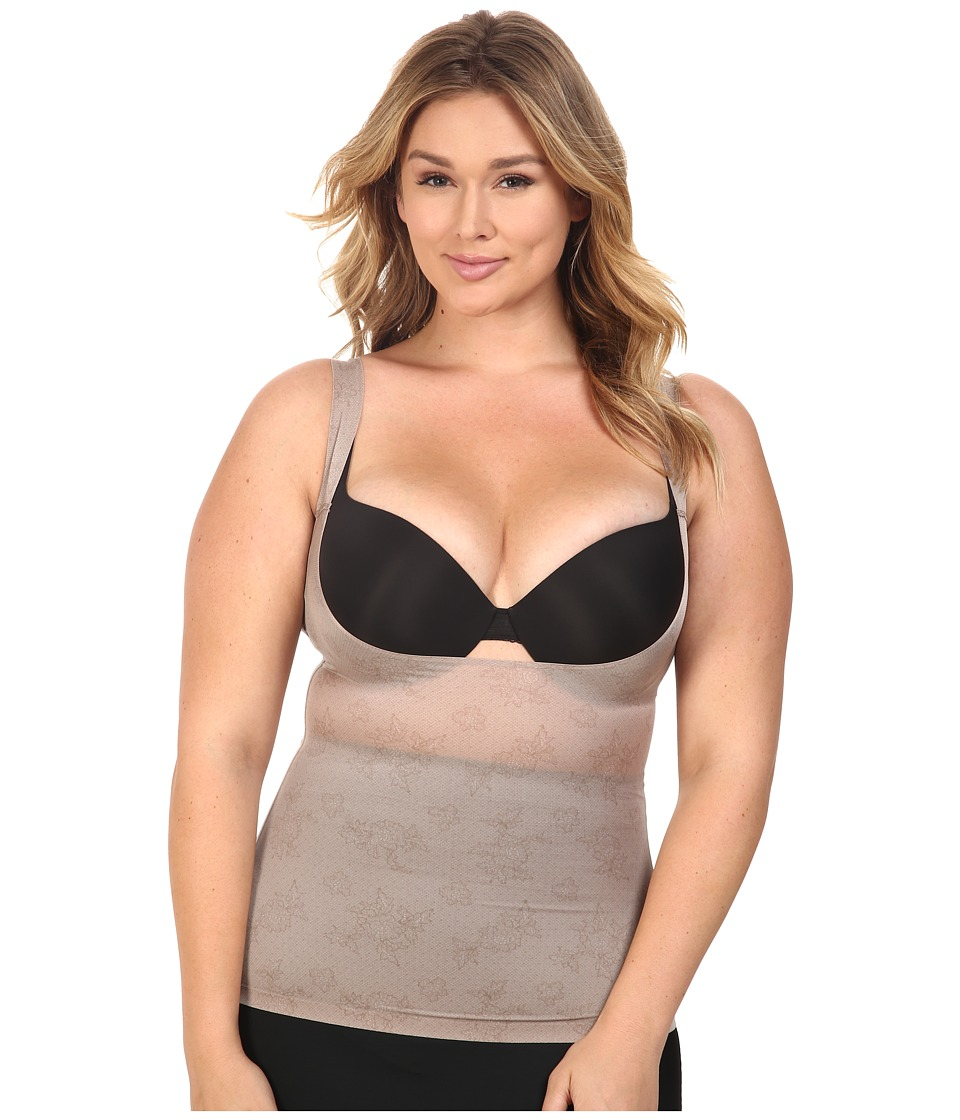 Spanx - Plus Size Pretty Smart Open-Bust Cami (Spanx Lace Taupe) Women's Sleeveless