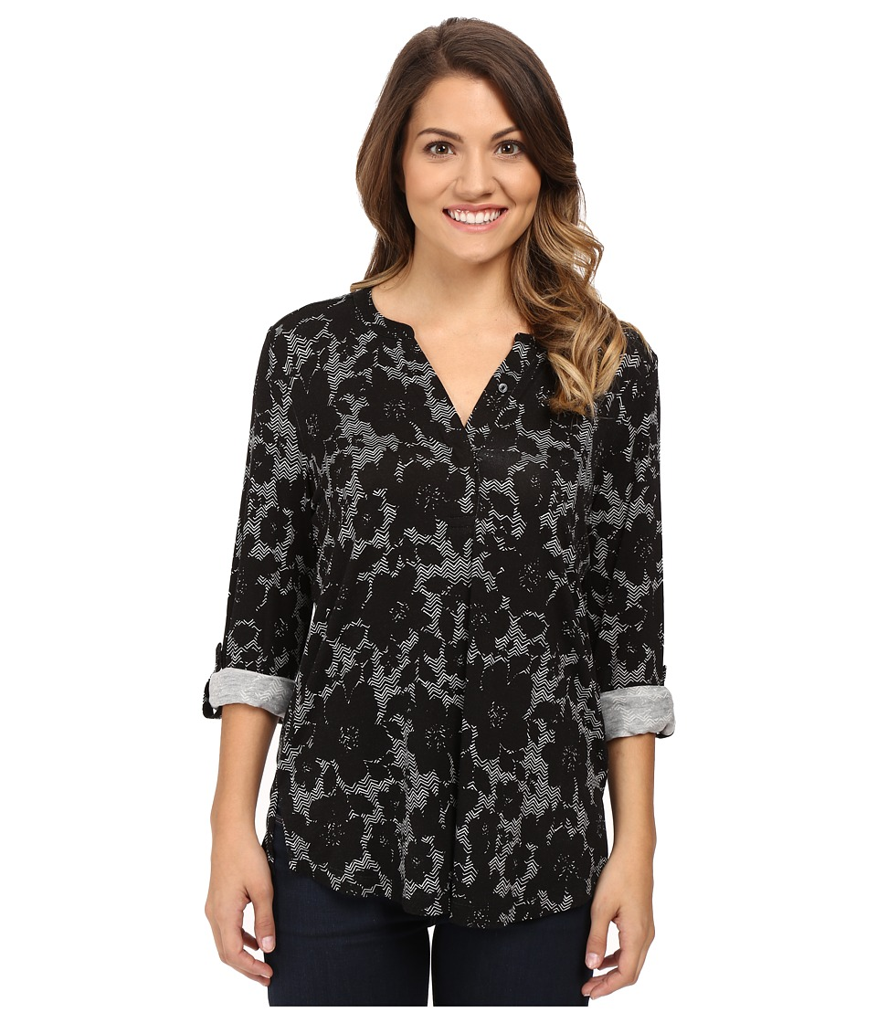 NYDJ Petite - Petite Knit Henley Blouse with Convertible Sleeve (Mod Floral Black) Women's Blouse
