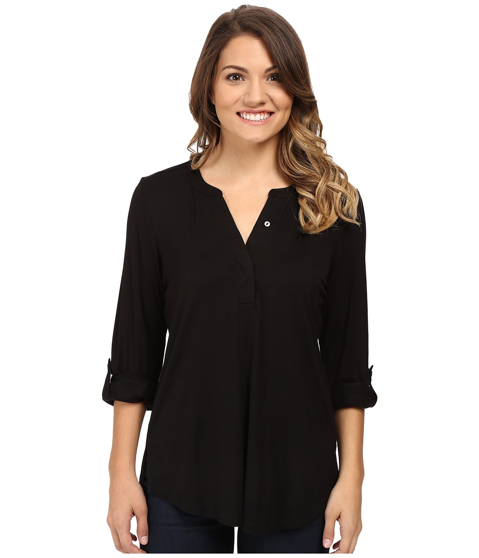 NYDJ Petite - Petite Knit Henley Blouse with Convertible Sleeve (Black) Women's Blouse