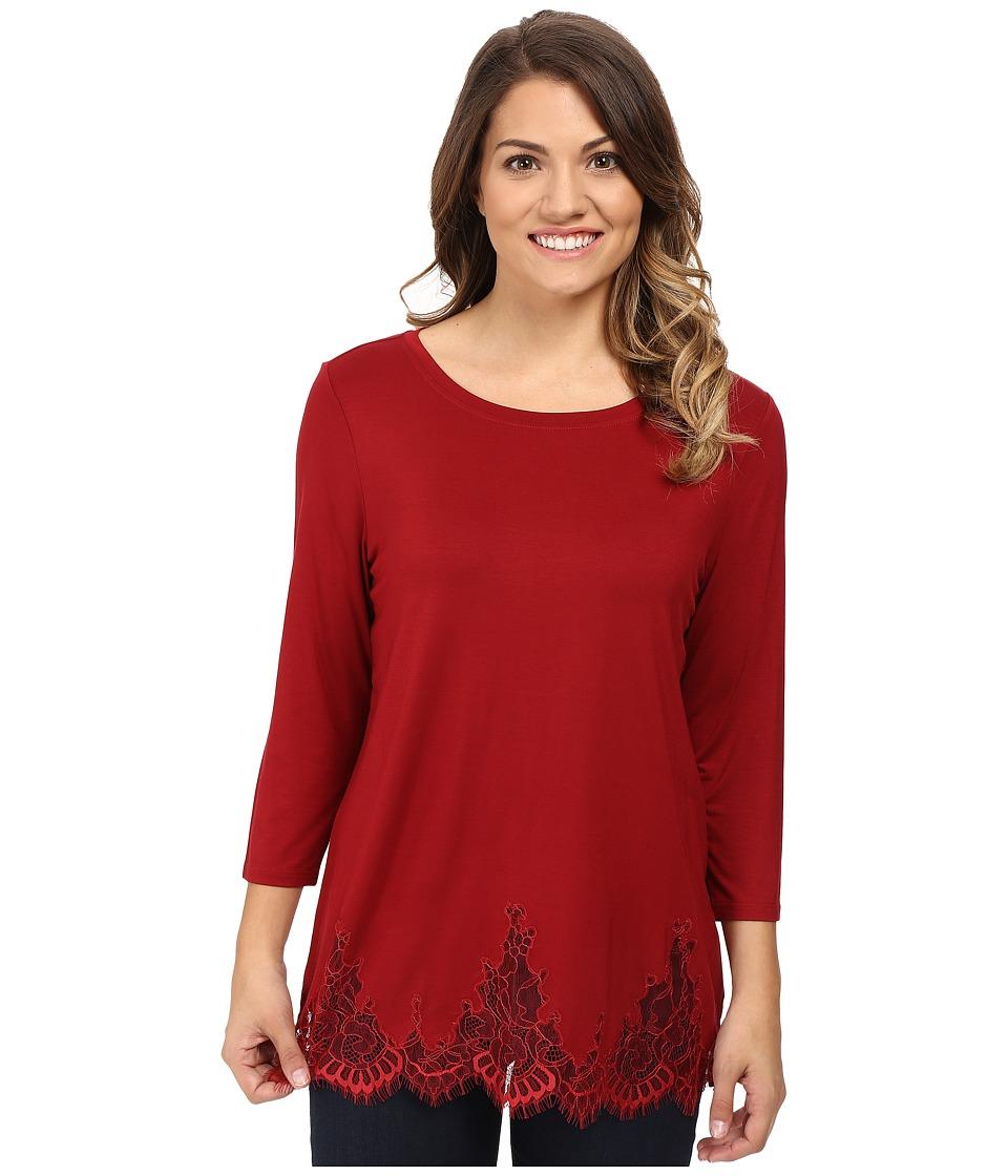 NYDJ Petite - Petite Lace Hem Knit Blouse (Carmine) Women's Blouse