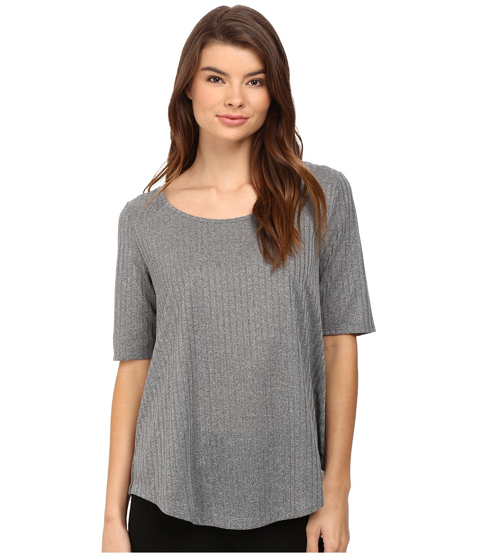 CATHERINE Catherine Malandrino - Short Sleeve Rib Shirttail Top (Dark Grey) Women's Blouse