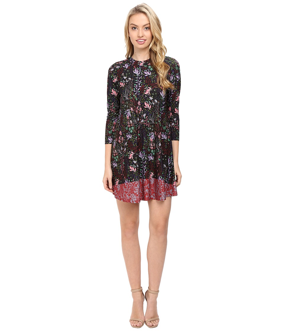 CATHERINE Catherine Malandrino - Printed Long Sleeve A-Line Dress (Floral Urchin) Women's Dress