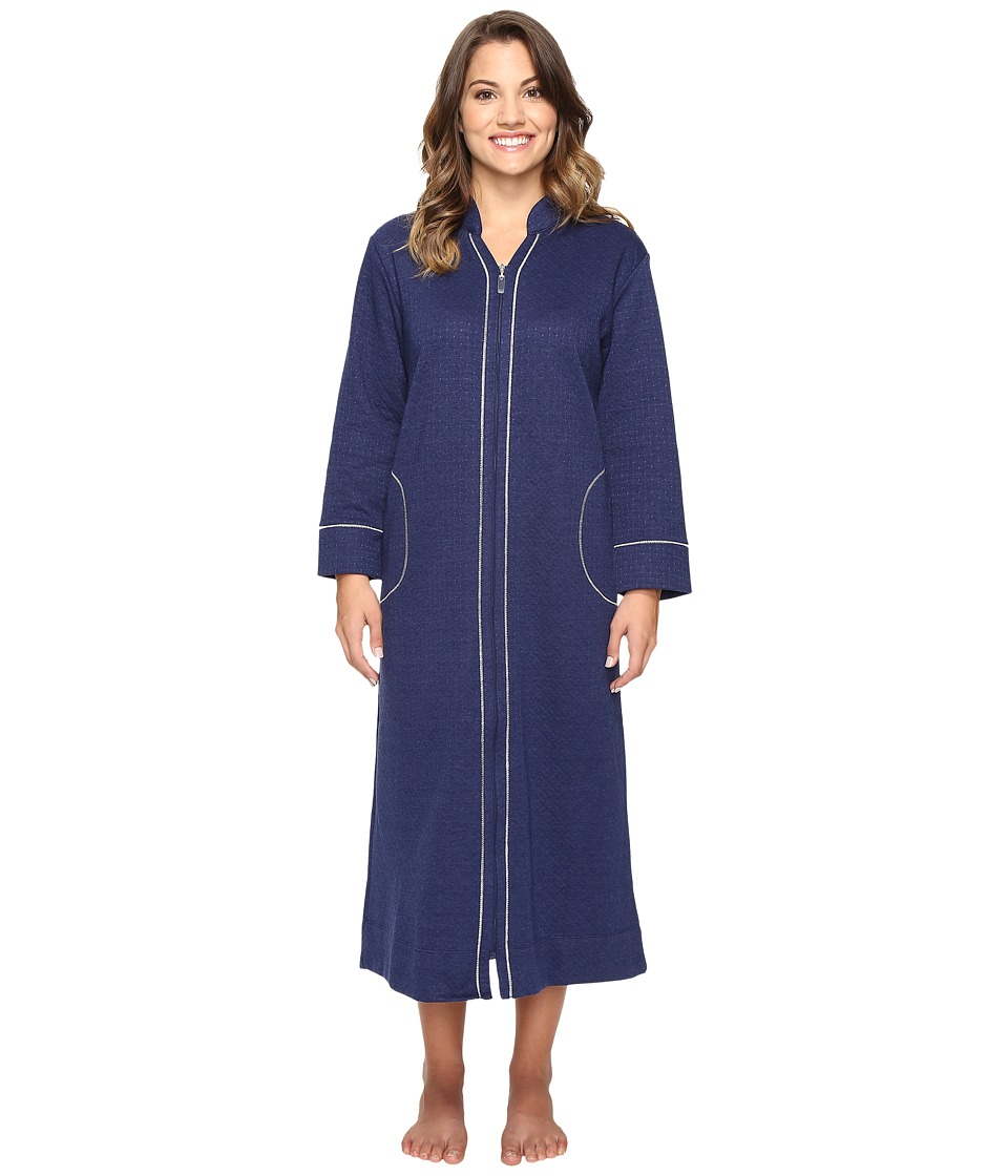 Carole Hochman - Petite Quilted Zip Robe (Navy) Women's Robe