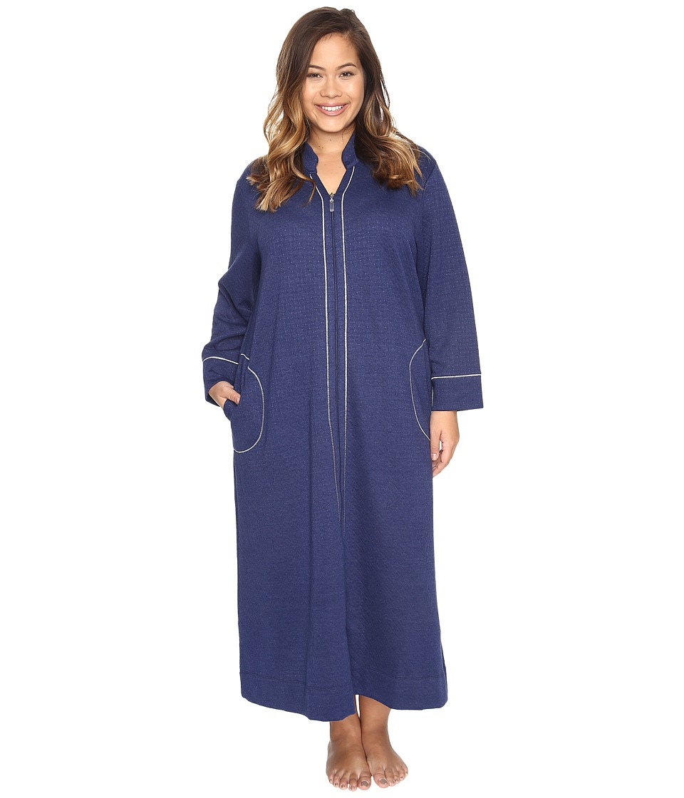 Carole Hochman - Plus Size Quilted Zip Robe (Navy) Women's Robe
