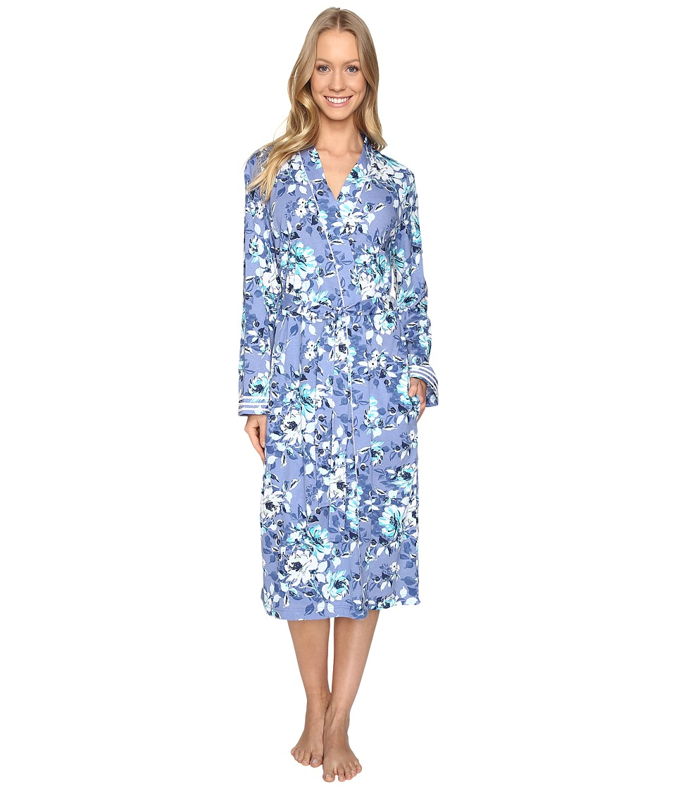 Carole Hochman - Cotton Ballet Robe (Blue Floral) Women's Robe