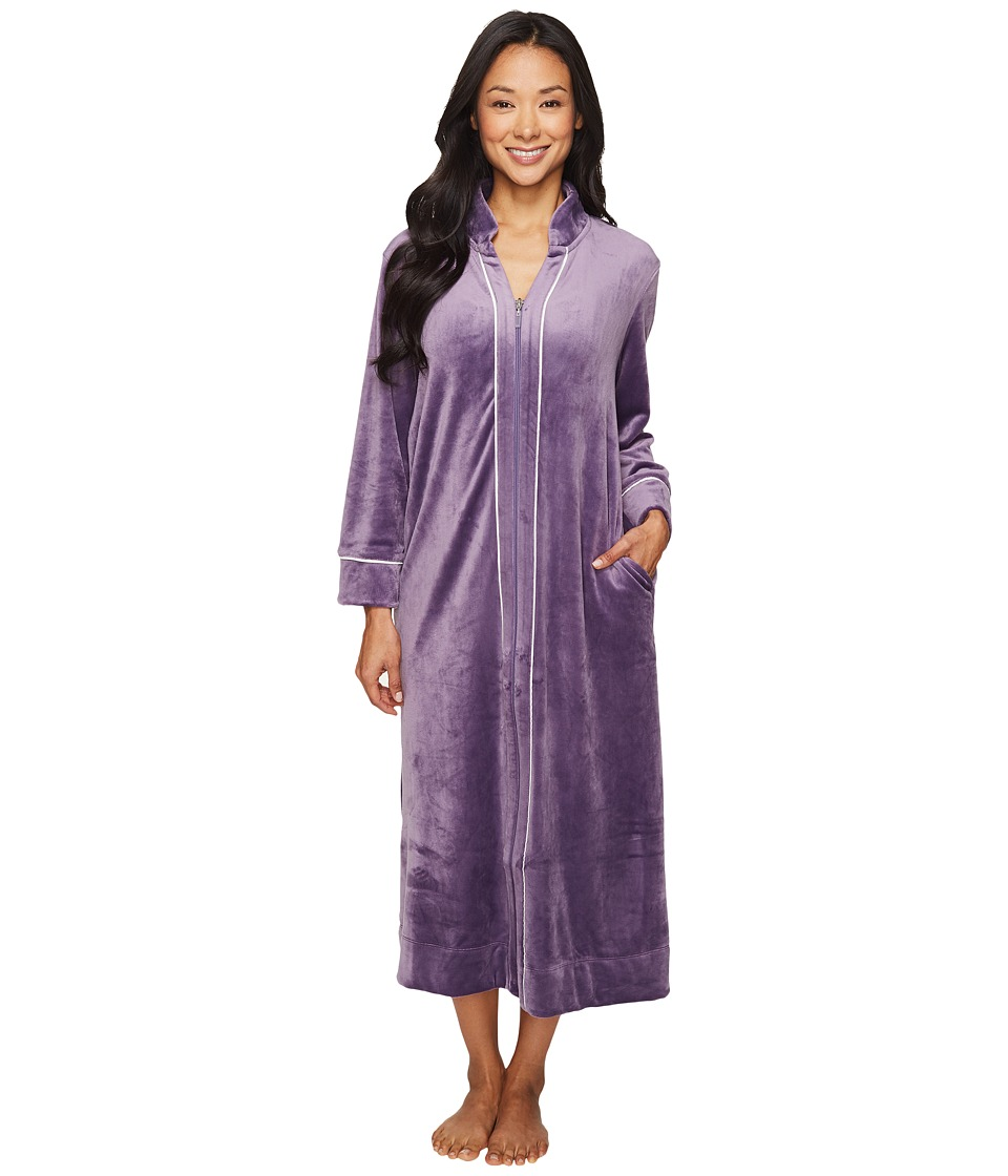 Carole Hochman - Petite Velour Zip Robe (Purple) Women's Robe