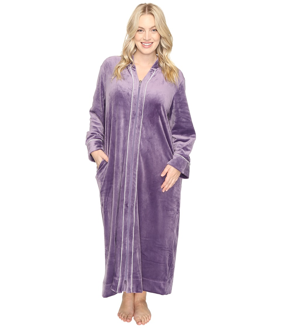 Carole Hochman - Plus Size Velour Zip Robe (Purple) Women's Robe