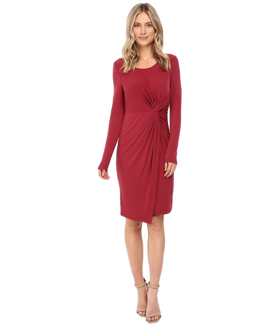 CATHERINE Catherine Malandrino Long Sleeve Knot Front Wrap Dress (Borscht Red) Women