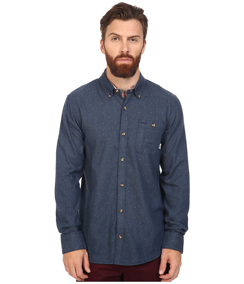 Vans - Gisler II Long Sleeve Woven (Dress Blues) Men's Clothing