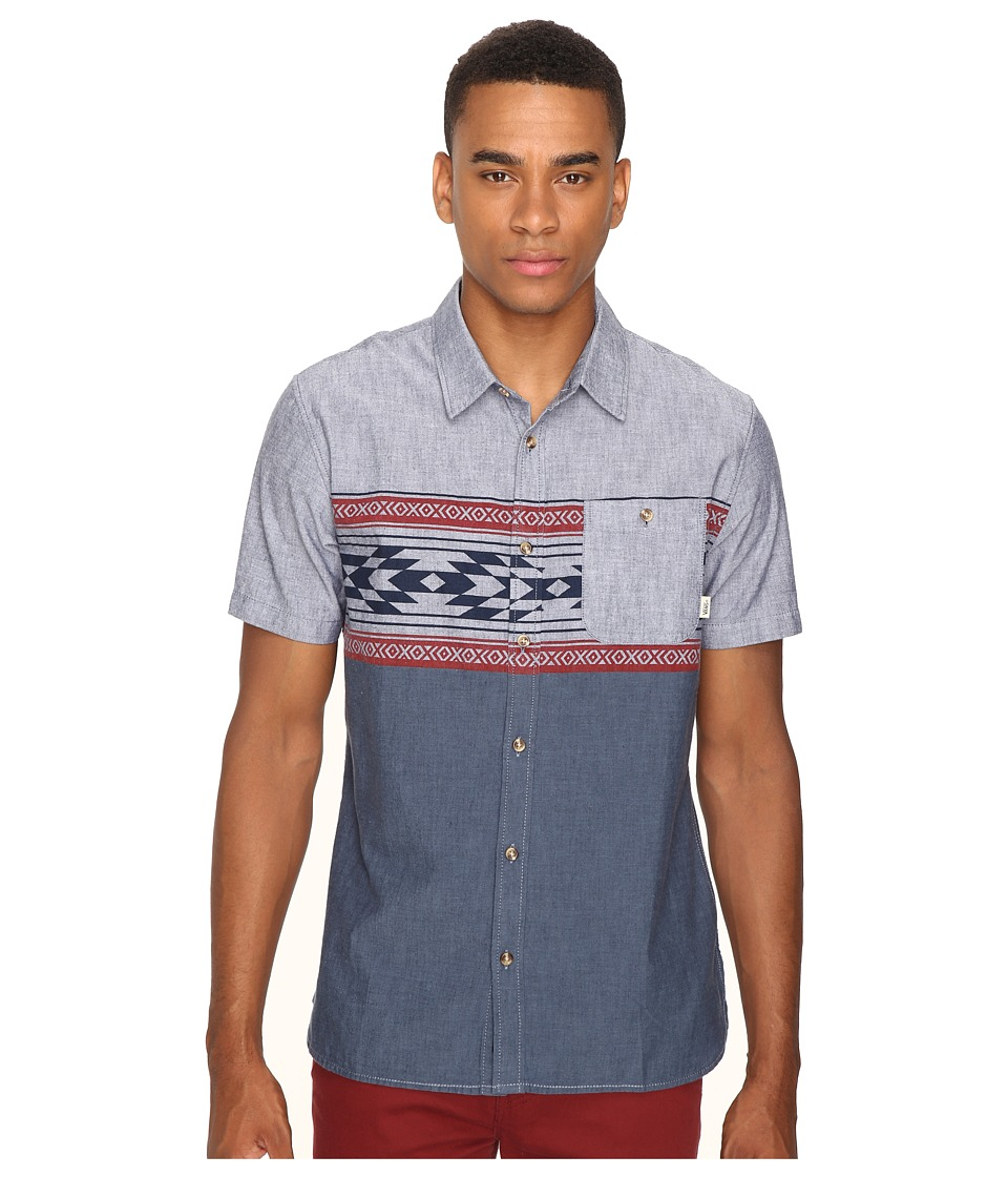 Vans Merced Short Sleeve Woven (Dress Blues True Native Stripe) Men