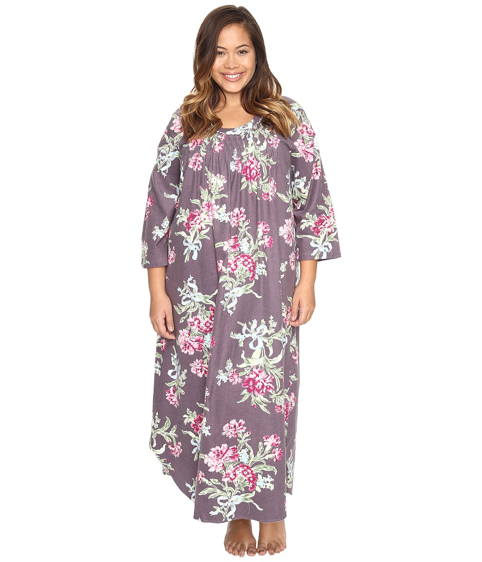 Carole Hochman - Plus Size Flannel Long Sleeve Long Gown (Ribonned Carnations) Women's Pajama