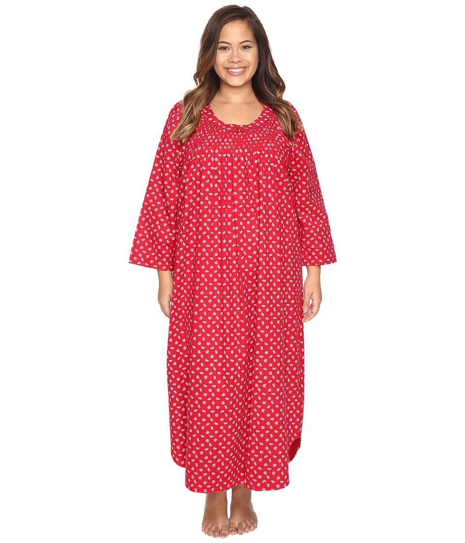 Carole Hochman - Plus Size Flannel Long Sleeve Long Gown (Falling Pinecones) Women's Pajama
