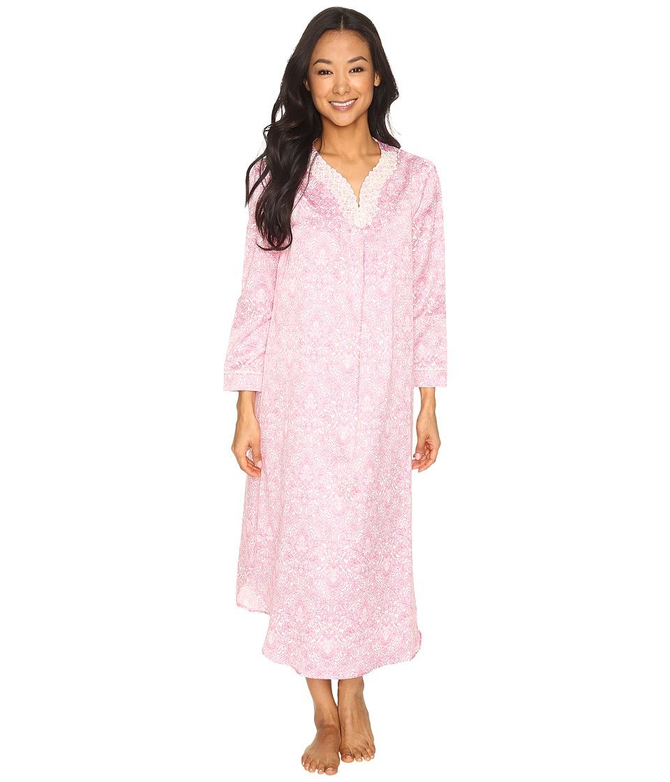 Carole Hochman - Petite Brush Back Satin Long Gown (Pink Damask) Women's Pajama