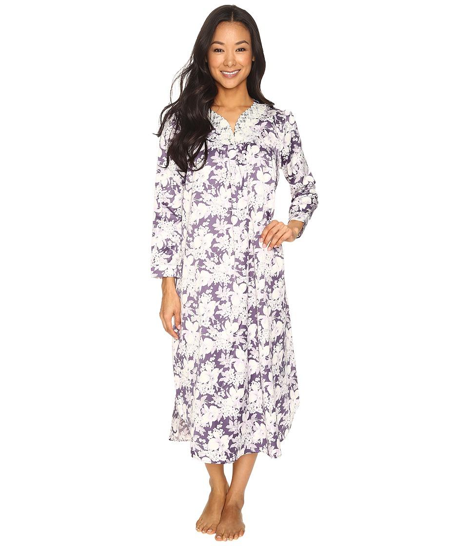 Carole Hochman - Petite Brush Back Satin Long Gown (Floral Garden) Women's Pajama