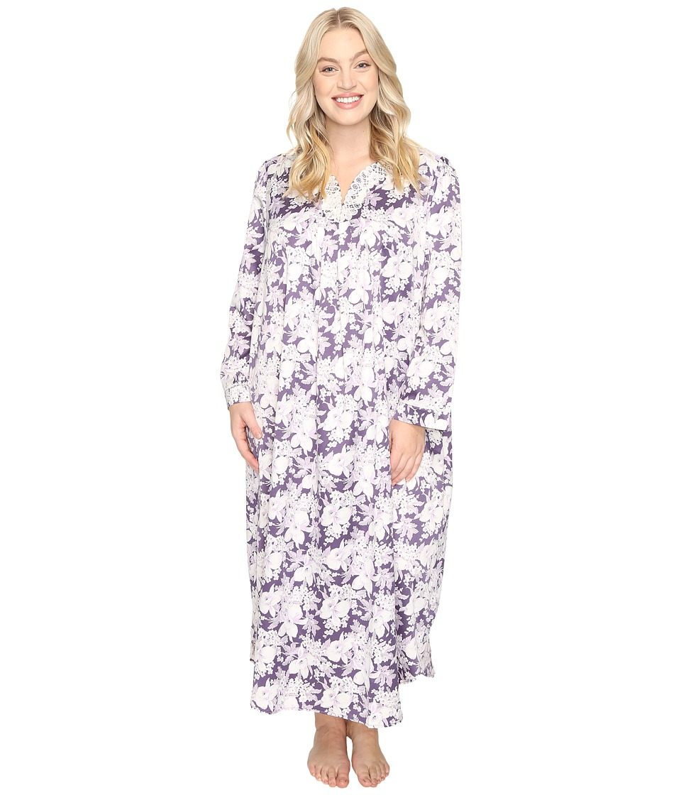 Carole Hochman - Plus Size Brush Back Satin Long Gown (Floral Garden) Women's Pajama