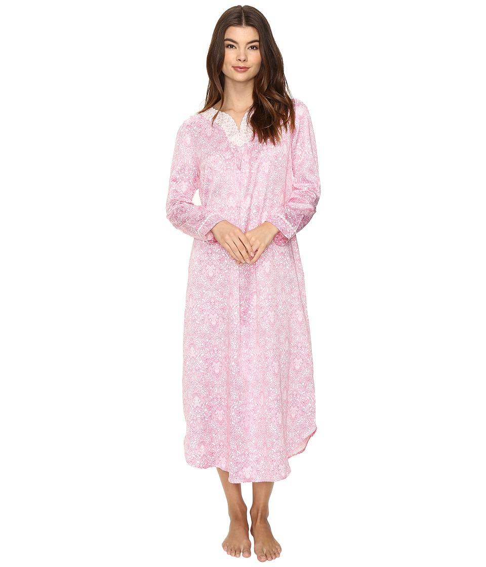 Carole Hochman - Brush Back Satin Long Gown (Pink Damask) Women's Pajama