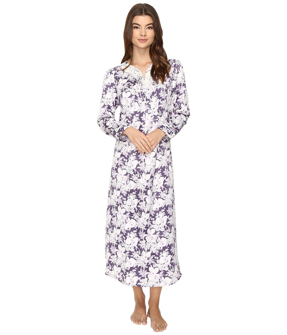 Carole Hochman - Brush Back Satin Long Gown (Floral Garden) Women's Pajama