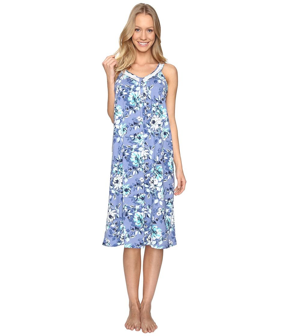 Carole Hochman - Cotton Ballet Gown (Blue Floral) Women's Pajama