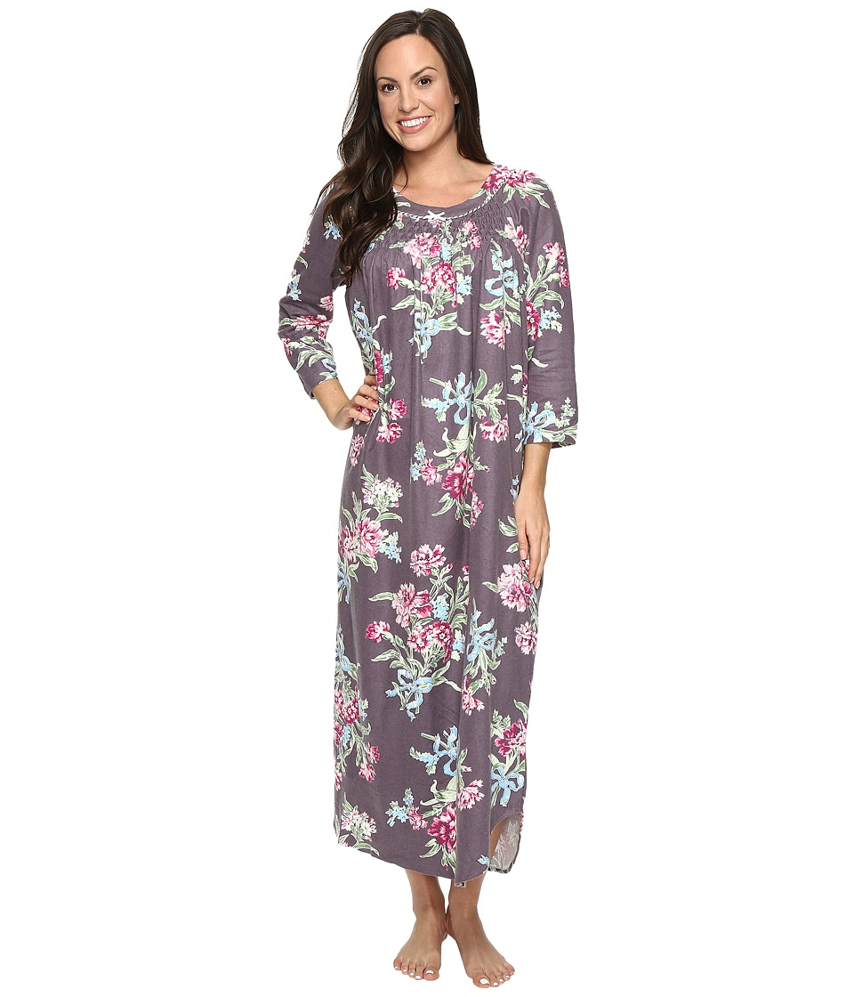 Carole Hochman - Flannel Long Sleeve Long Gown (Ribonned Carnations) Women's Pajama