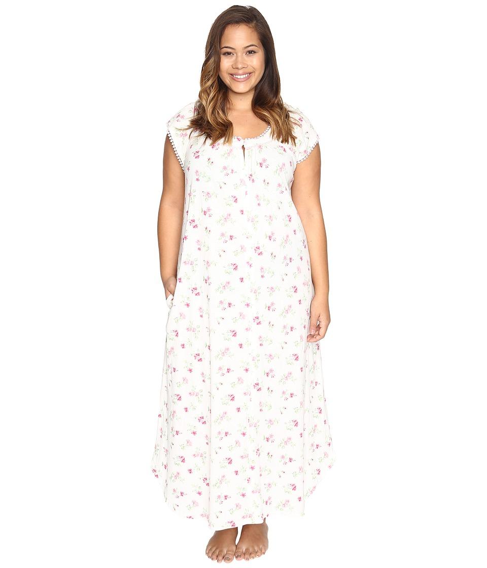 Carole Hochman - Plus Size Flutter Sleeve Long Gown (Holiday Bouquet Twin) Women's Pajama