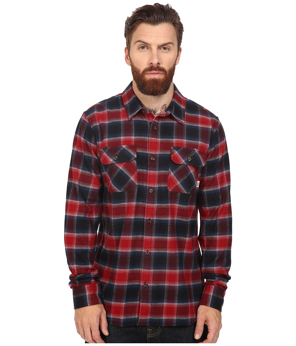 Vans - Banfield Long Sleeve Flannel (Black/Red Dahlia) Men's Clothing