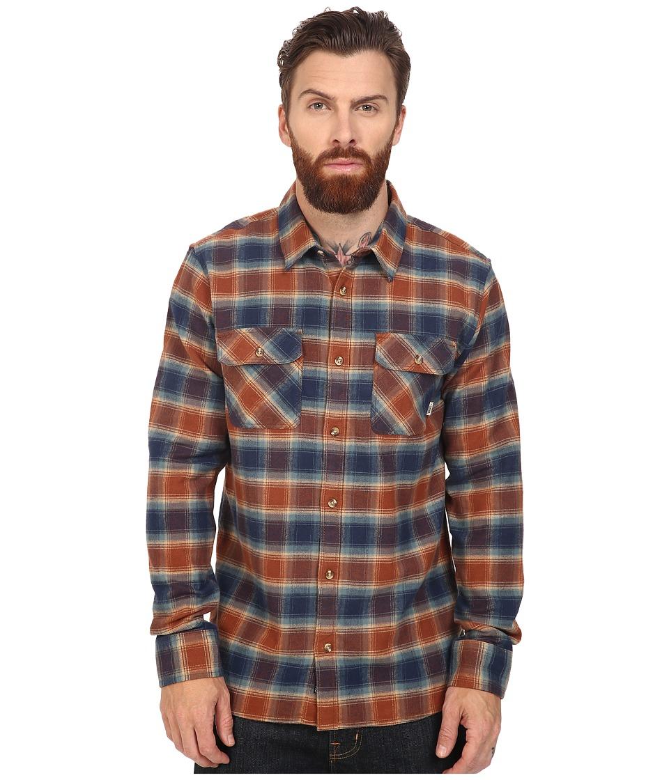 Vans - Banfield Long Sleeve Flannel (Dress Blues/Tortoise) Men's Clothing