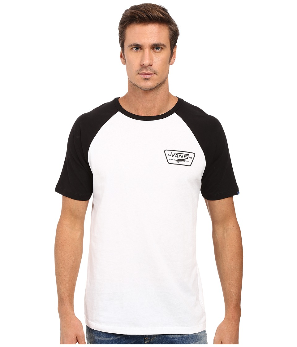 Vans - Full Patch Short Sleeve Raglan (White/Black) Men's Clothing