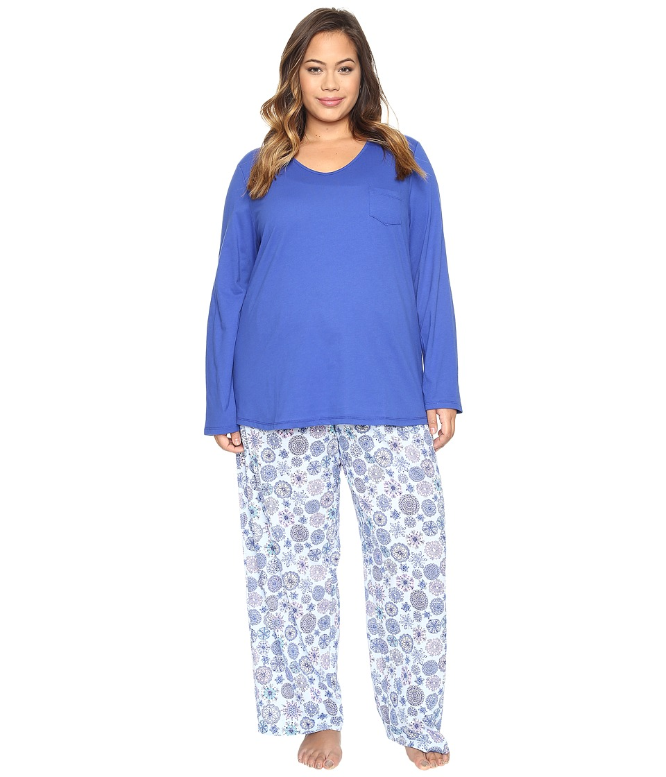 Jockey - Plus Size Knit Two-Piece Pajama Set (Geo Snowflakes) Women's Pajama Sets