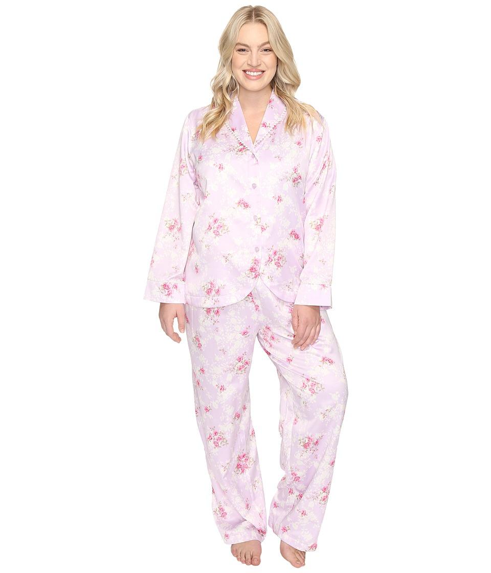 Carole Hochman - Plus Size Packaged Brush Back Satin Pajama (Satin Blossoms) Women's Pajama Sets