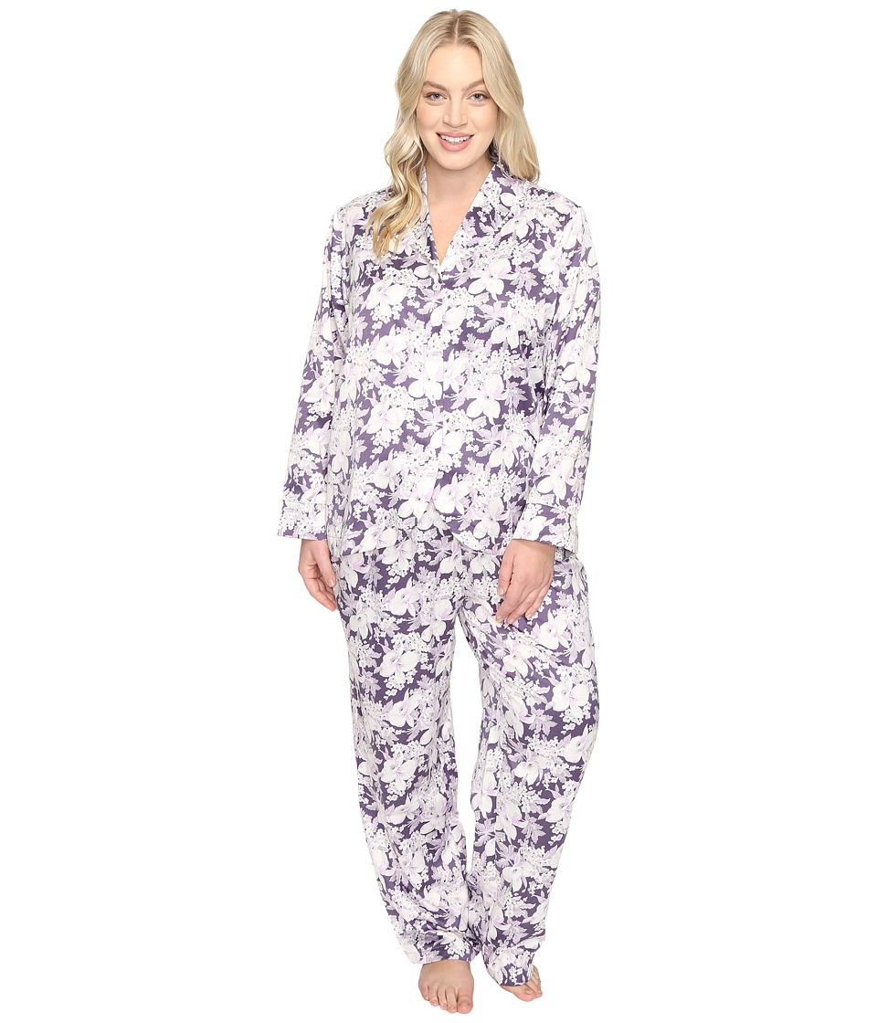 Carole Hochman - Plus Size Packaged Brush Back Satin Pajama (Floral Garden) Women's Pajama Sets