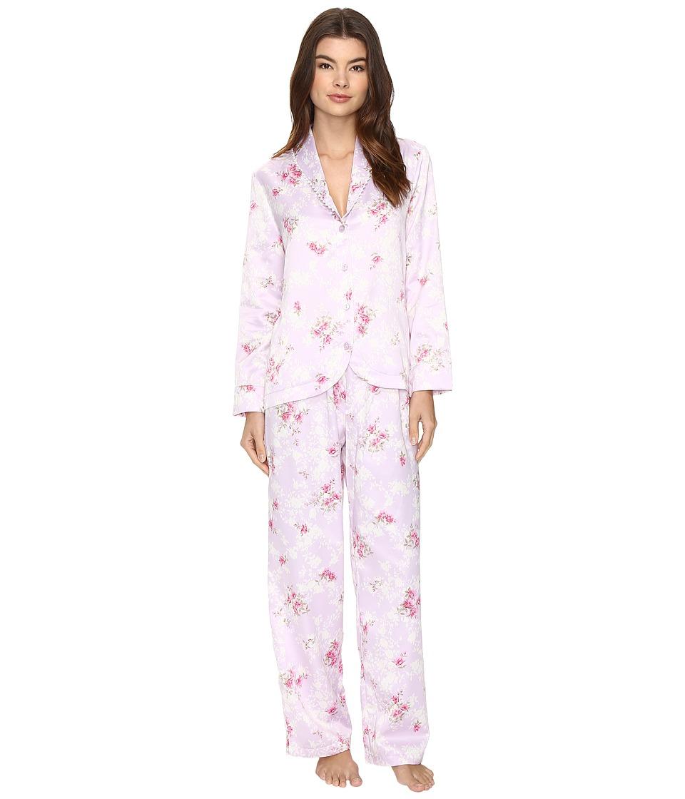Carole Hochman - Packaged Brush Back Satin Pajama (Satin Blossoms) Women's Pajama Sets