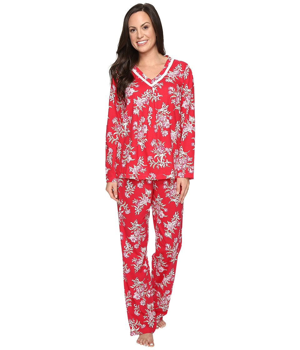 Carole Hochman - Cotton Jersey Pajama with Satin Trim (Tied Bouquets) Women's Pajama Sets
