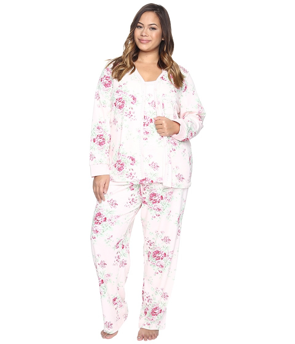 Carole Hochman - Plus Size Three-Piece Pajama Set (Holiday Bouquet) Women's Pajama Sets