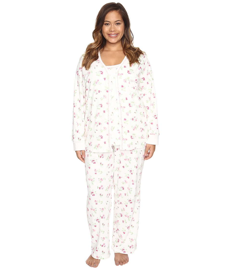 Carole Hochman - Plus Size Three-Piece Pajama Set (Holiday Bouquet Twin) Women's Pajama Sets