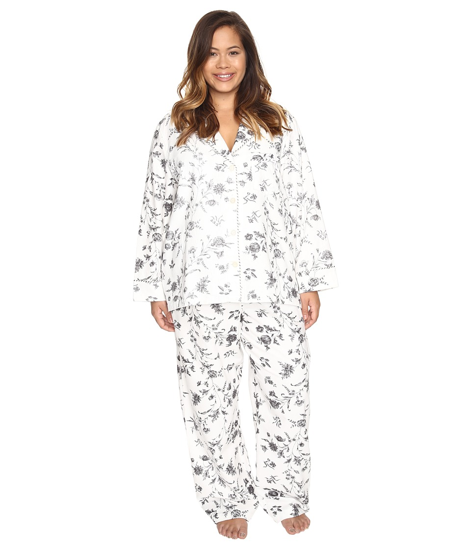 Carole Hochman - Plus Size Packaged Flannel Pajama (Festive Botanical Toile) Women's Pajama Sets