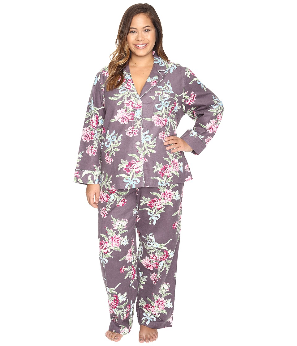 Carole Hochman - Plus Size Packaged Flannel Pajama (Ribonned Carnations) Women's Pajama Sets