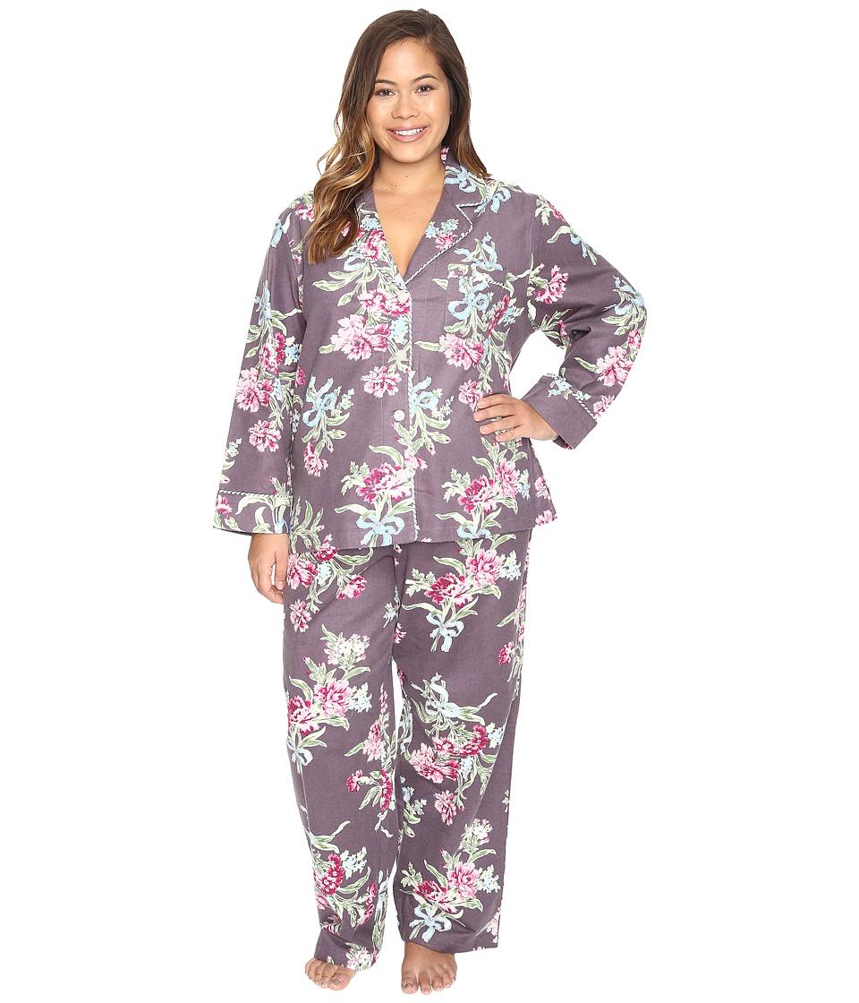 Carole Hochman - Plus Size Packaged Flannel Pajama (Ribonned Carnations) Women's Pajama Sets