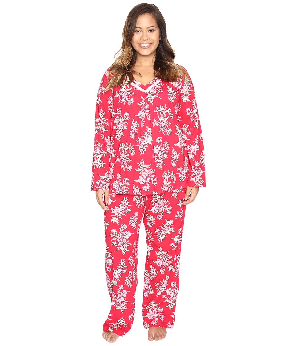 Carole Hochman - Plus Size Cotton Jersey Pajama with Satin Trim (Tied Bouquets) Women's Pajama Sets