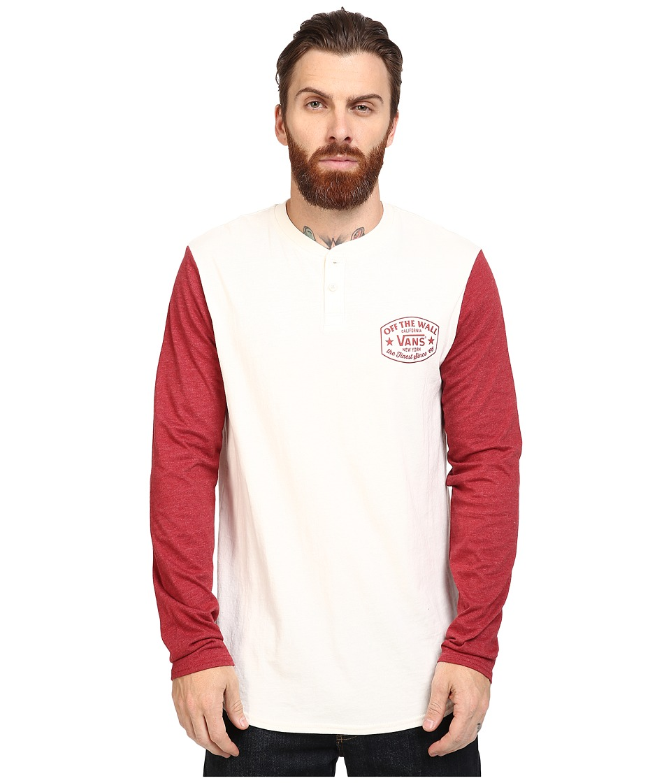Vans - Robles Long Sleeve Henley (Marshmallow/Red Dahlia) Men's Clothing
