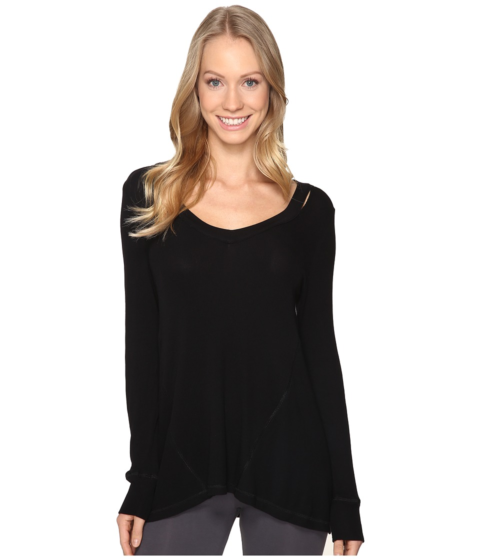 Midnight by Carole Hochman - Lounge Cut Away Top (Black) Women's Pajama