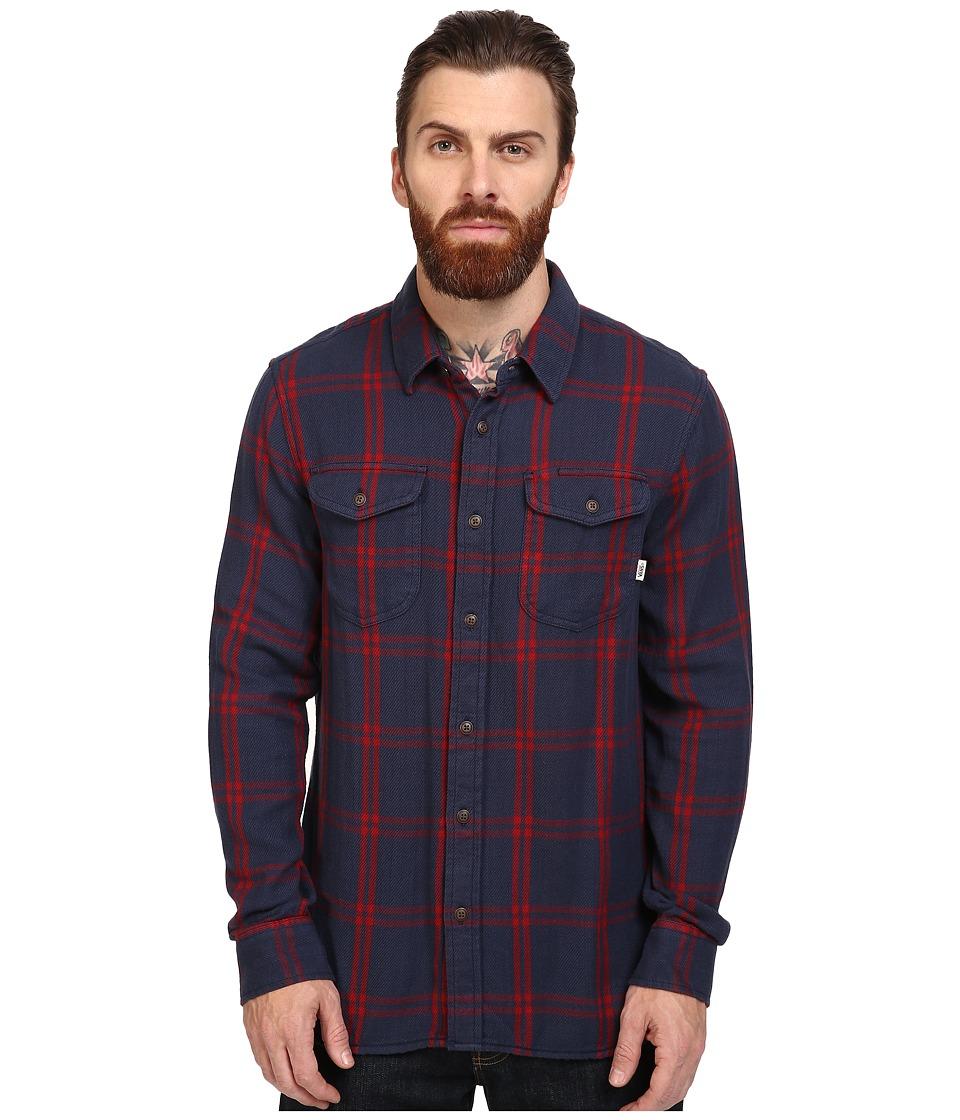 Vans - Wayland Long Sleeve Flannel (Dress Blues/Red Dahlia) Men's Clothing