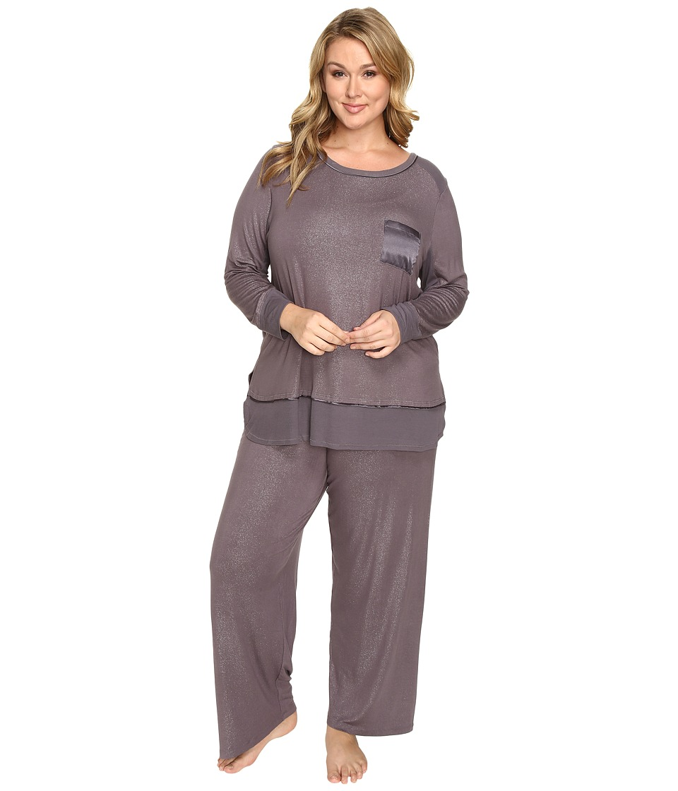 Midnight by Carole Hochman - Plus Size Packaged Key Item Pajama (Sparkles Silver Mist) Women's Pajama Sets