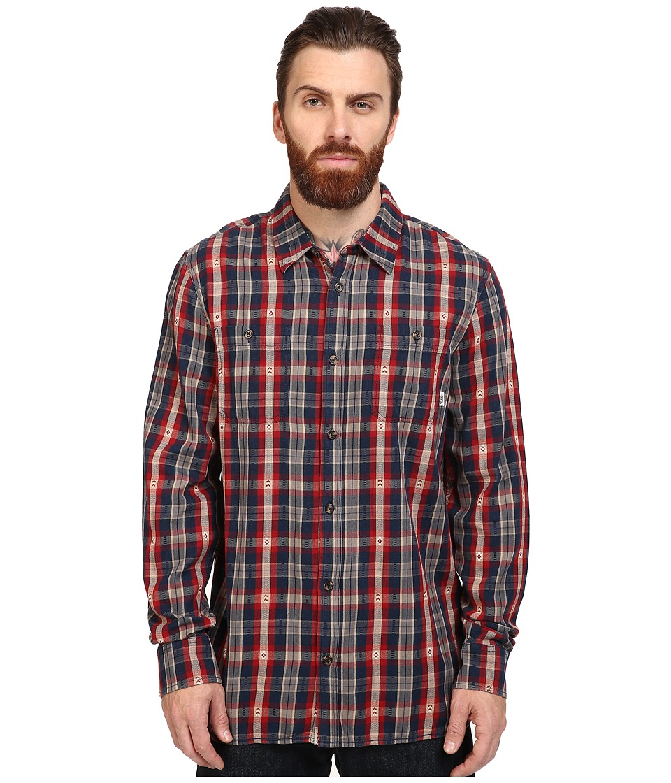 Vans Canehill Long Sleeve Flannel (Red Dahlia/Dress Blues) Men