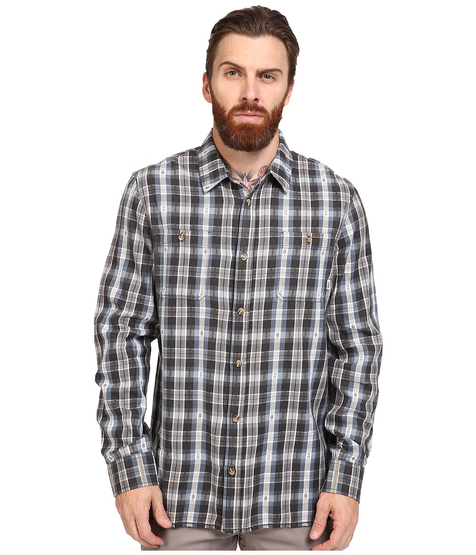 Vans - Canehill Long Sleeve Flannel (Blue Mirage/New Charcoal) Men's Clothing