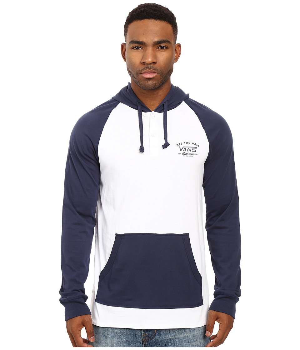 Vans - Relston Jersey Raglan (Bright White/Dress Blues) Men's Clothing