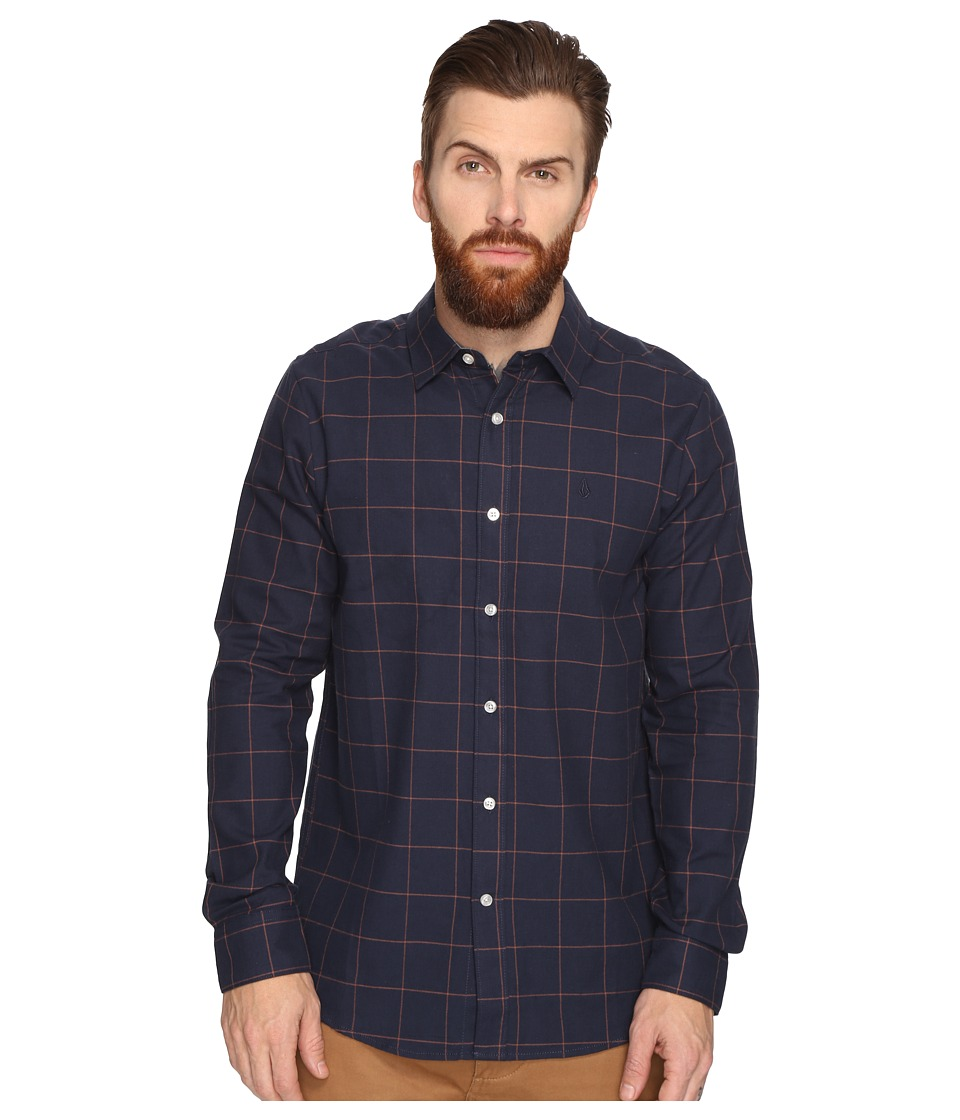 Volcom - Akers Long Sleeve Woven (Navy) Men's Clothing