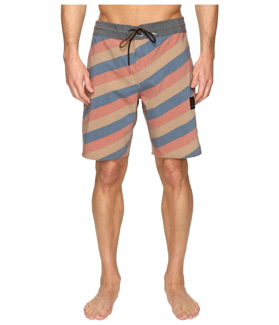 Volcom Stripey Slinger 19 Boardshorts (Burnt Khaki) Men